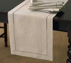 table runner linen hemstitch table runner pottery barn