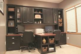 Built In Cabinets Diy Office With T Shaped Countertop And Built In Cabinets