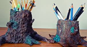 paper mâché tree trunk diy pencil painbrush holder