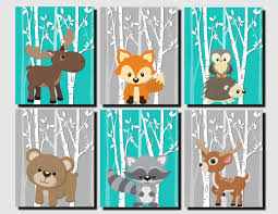 Bedroom Wall Art Sets Woodland Nursery Woodland Wall Decor Kids Teal Gray Forest