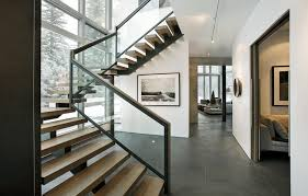 Glass Banister Staircase Center Beam Stair Staircase Modern With Black And White