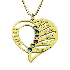 jewelry necklace love images Mom birthstone necklace gold color silver heart name necklace hand jpg