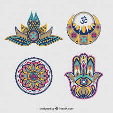 set of diwali abstract decorative ornaments vector free