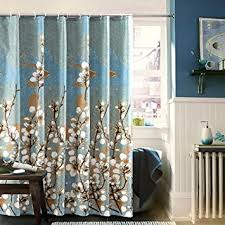 Blue And Brown Curtains Ufaitheart Magnolia Flower Pattern Waterproof Bath