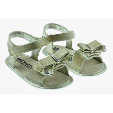 kors baby girls gold sandals with bow detailing