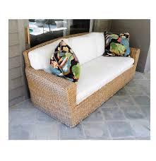 Rattan Curved Sofa by Pierce Martin Rattan Patio Sofa With Beige Twill Cushions Ebth