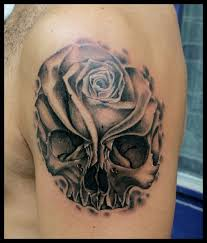 lovely skull and flower tattoo tattoomagz