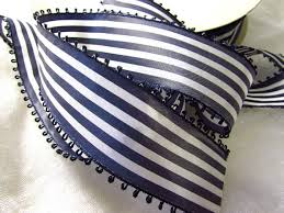 navy and white striped ribbon navy blue and white striped ribbon vintage picot ribbon white and