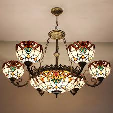 Stained Glass Light Fixtures Dining Room Decorative 9 Light Stained Glass Shade Style Chandeliers