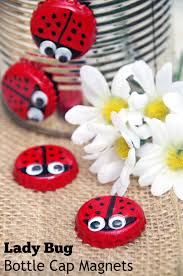 make bottle cap magnet lady bugs turning the clock back