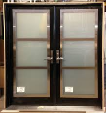 Exterior Glass Door Inserts Entry Door With Stainless Steel Frame On Top Of Glass