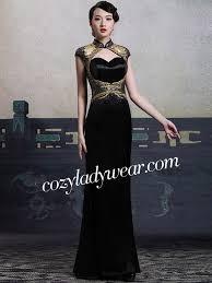 custom tailored black sequins qipao cheongsam dress with keyhole