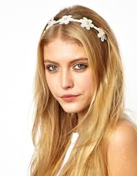 crochet flower headband lyst asos crochet flower headband in white