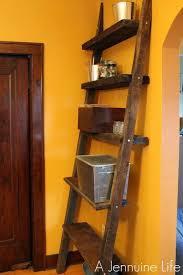 Diy Ladder Bookshelf Diy Ladder Shelf From Reclaimed Wood A Jennuine Life