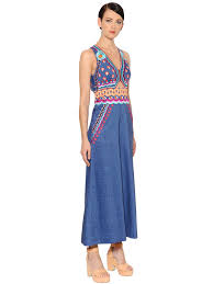 temperley london embroidered denim jumpsuit blue multi women