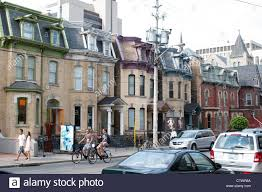 victorian style houses on dundas street toronto canada stock