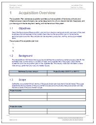 acquisition plan template acquisition plan template software software templates
