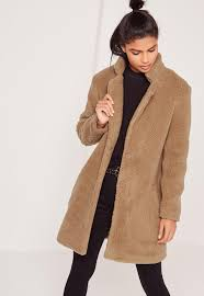 teddy faux shearling coat tan missguided