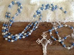 wedding lasso rosary wedding lasso wedding by the sea white and blue pearls