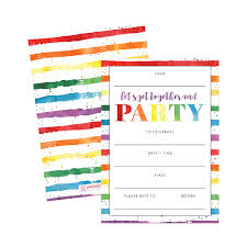 Birthday Invitation Cards For Teenagers 25 Art Stripe Rainbow Party Invitations For Kids Teens Adults
