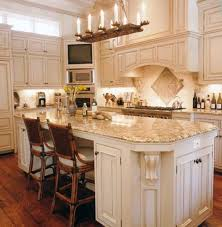 Table Kitchen Island - appliances wooden varnished table and chair grey wall cabinets