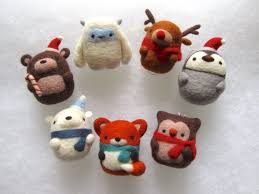 decorations set of 7 needle felted ornaments