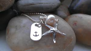 Custom Stamped Jewelry Starfish Necklace Anchor Jewelry By The Sea Custom Hand Stamped