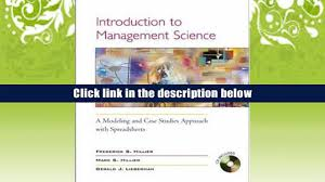 download introduction to management science a modeling case
