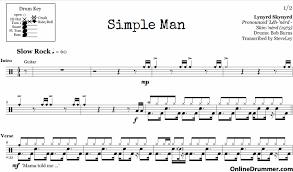 simple man lyrics printable version simple man lynyrd skynyrd drum sheet music onlinedrummer com