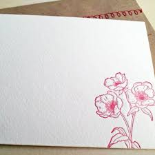 Letterpress Stationery Red Flower Letterpress Stationery With Sewn Envelope 5 Pack