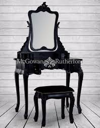 black french style dressing table mirror and stool set