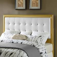 White Cushioned Headboard by Decorating White Upholstered Headboard With Wooden Frame