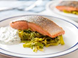 one skillet salmon with curried leeks and yogurt herb sauce recipe