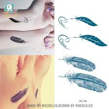 feather pattern temporary cute body tattoo sticker delicate cool