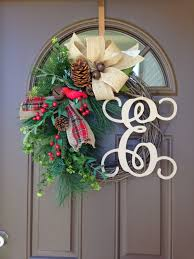 christmas wreaths for front door monogrammed holiday wreath