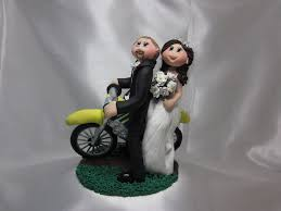 personalised fimo clay motorbike bride and groom wedding cake