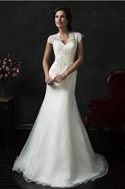 scalloped neck cap sleeve organza lace peplum wedding dress with sash