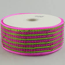 2 5 poly deco mesh ribbon deluxe wide foil lime pink stripe