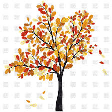 autumn oak tree with falling leaves vector clipart image 106764