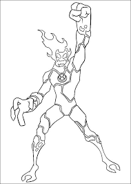 ben 10 changed man fire ben 10 coloring pages ben 10