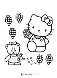 kitty picking grapes coloring pages hellokids