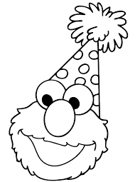 Elmo Opens Birthday Present Coloring Hm Coloring Pages