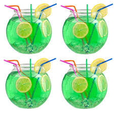 4 x 2 litre durable plastic cocktail fish bowl party drinks punch