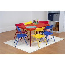 Folding Table Chair Set Safety 1st 7 Piece Red Folding Table And Chair Set 37372red1e