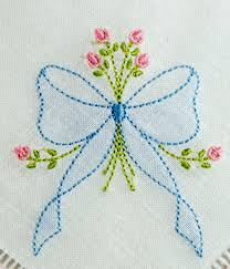 Kitchen Embroidery Designs Se1002 Shadow Embroidered Bow With Rosebud Spray Embroidery