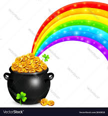 pot of gold with magic rainbow royalty free vector image
