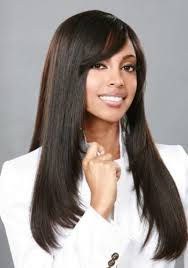 straight black weave hairstyles with bangs