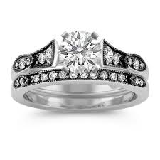 black diamond wedding set vintage cathedral diamond wedding set with black rhodium shane co