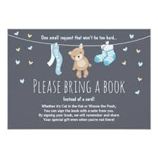 Bring Book Instead Of Card To Baby Shower Boy Teddy Bear Baby Shower Invitation Square Zazzle Com