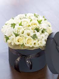 luxury flowers hydrangea and freesia hatbox